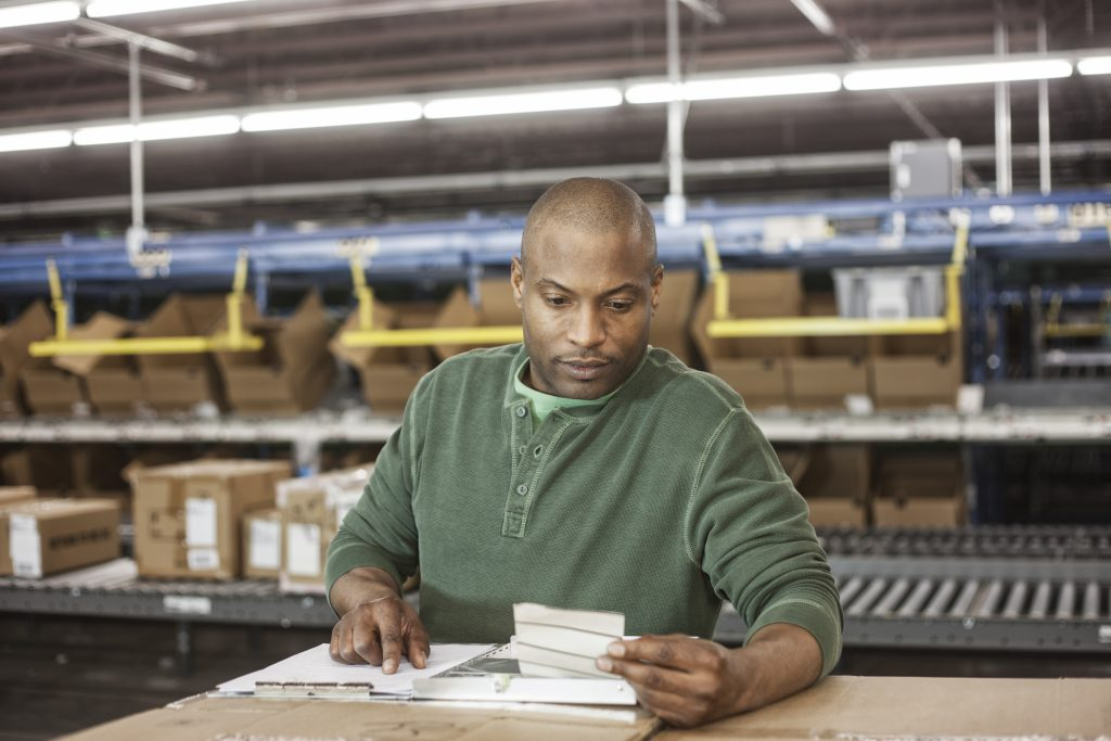 Worker in distribution center
